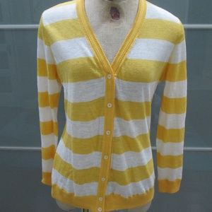 Long Sleeve Striped Linen Blend Cardigan Sweater